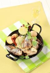 Pan fried mackerel with cream sauce and new potatoes