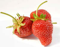 Three fresh strawberries