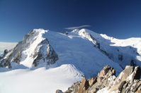 View of Mont Blanc summit from Aiguille du midi