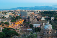 Coliseum at dusk with scaffolding, Rome Italy