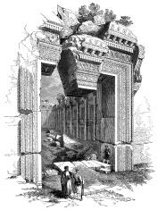 Antique illustration of Baalbek temple