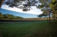 Curved office building with mirror windows