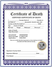 Blank Certificate of Death