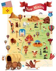 Cartoon map of New Mexico