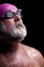 Old Swimmer In Cap And Goggles