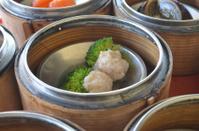 dumpling make with pork and broccoli.