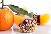 slice of tangerine with chocolate
