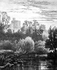 19th century engraving of Windsor Castle, Berkshire, UK