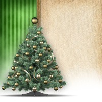 Christmas tree and handmade paper sheet
