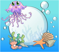 big pearl and violet octopus under the sea