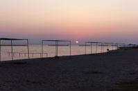 empty beach during sunset at ayvalik balikesir turkey