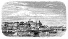 Antique illustration of Cayenne, French Guiana