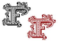 Vintage letter F with decorative elements