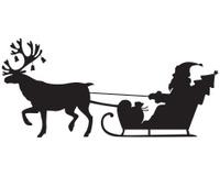 Santa Claus riding a sleigh with reindeer
