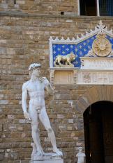 Marble replica statue of Michelangelos David at Palazzo Vecchio
