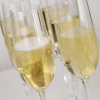 Champagne in glasses on a table