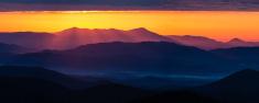 Panoramic Sunrays over Blue Ridge Mountains