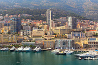 View of port and buildings in Monte Carlo, Monaco.