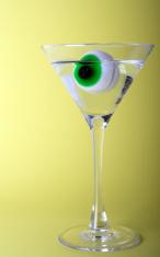Halloween Horror Eyeball Martini Glass Drink Gross