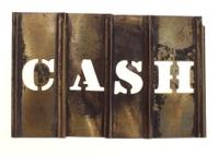 Antique Brass stencil : Cash