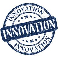 innovation grunge round blue stamp