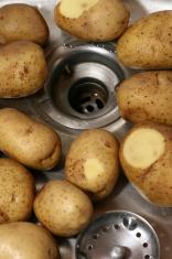 Potatoes in sink