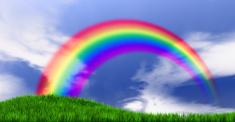 Rainbow On Grassy Hill
