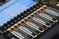 Sound mixing console in recording studio