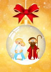 Nativity scene in the crystal ball