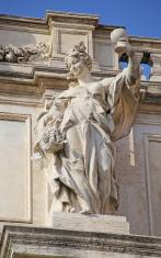 Statue of Trevi Fountain in Rome, Italy.