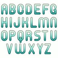 3d blue glossy shiny winter bubble fonts