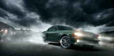 Green Muscle Car Burnout