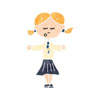 retro cartoon schoolgirl