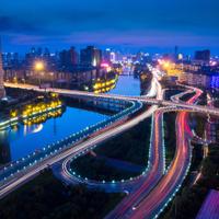 Modern city, a busy overpass