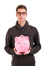 Stressed 3d Small Person And Piggy Bank Stock Photos