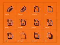 File Clip icons on orange background.