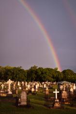 Rainbow over a cemetery