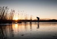 ice skating at sunset