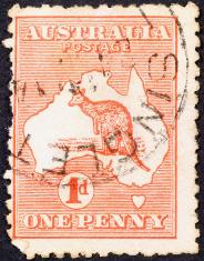 Very old australian stamp with kangaroo & map
