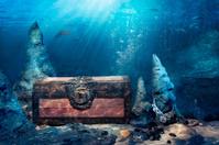 Closed treasure chest underwater