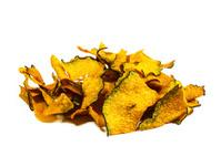 Crispy pumpkin chips on white background