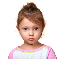 Cute thinking look kid girl isolated. Closeup portrait