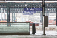 Prague Train Station during Snowfall