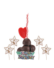 Happy Birthday Candle Chocolate Lollipop Heart