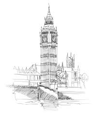 Landscape of London, UK. Big Ben Tower.