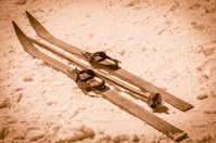 Retro ski equipment, sepia-toned