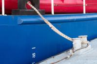 Closeup of boat tied up at dock