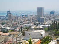 Panoramic view on Haifa harbor