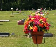 flower bouquet at grave site