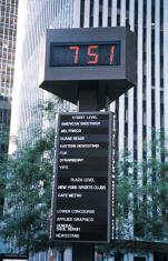 New York City digital clock sign